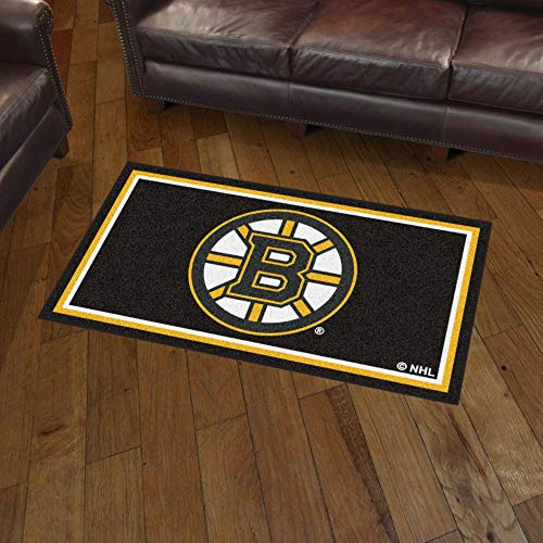 NHL Boston Bruins 3 Ft. x 5 Ft. Area RUG3 Ft. x 5 Ft. Area Rug, Black, 3