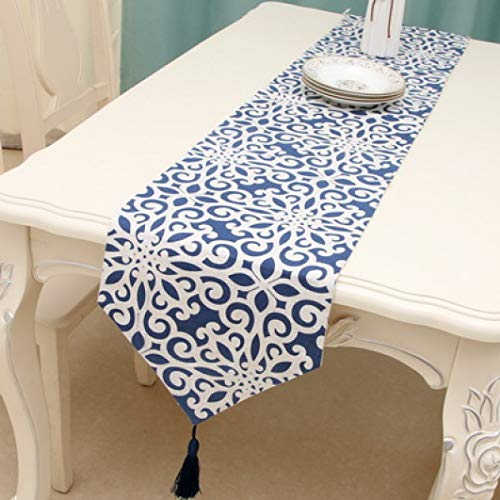 US-ROGEWIN Table Runner Blue and White Linen Printing Chinese Porcelain Style Tablecloth Tassels Hotels Home Decoration -