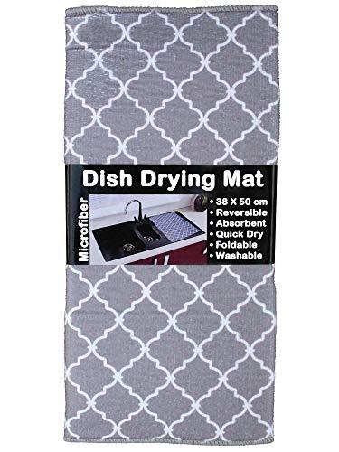 U & U UNIQUE UTILITIES Microfiber Dish Drying Kitchen Mat, 38×50 cm (White) Pack of 2