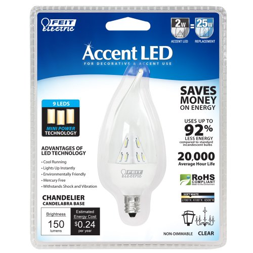 2w Accent Led (Feit Electric BPCFC/LED/RP Accent LED Chandelier, Clear)