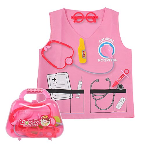 Sinuo Doctor Dress Up Set, Kids Veterinarian Costumes with Accessories Role Play Toy Medical Set Fit Age from 3-7 (Pink) -