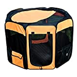 Tenive 36'' Portable 2-door Pet Dog Playpen Indoor Outdoor Soft Sided Foldable Dog/Cat/Rabbit/Puppy Exercise Pen Kennel Crate 600D Oxford Cloth w/ Carry Bag - Orange