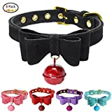 Silkclo 5 Pack Breakaway Bowtie Cat Collar with Bell,Safety Adjustable Buckle Pet Collar,Soft PU Leather & Microfiber Puppy Dog Bowtie Collar (M/16.50.87Inch)