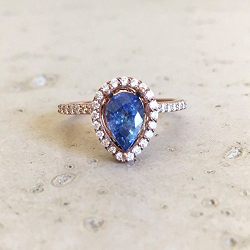 Blue Sapphire Engagement Ring- Rose Gold Sapphire Engagement Ring- Pear Shape Sapphire Engagement Ring- Diamond Sapphire Promise Ring