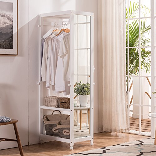 Storage Wardrobe Closet - Free Standing Armoire Wardrobe Closet Full Length Mirror, 67'' Tall Wooden Closet Storage Wardrobe Brake Wheels,Hanger Rod,Coat Hooks,Entryway Storage Shelves Organizer-Ivory White