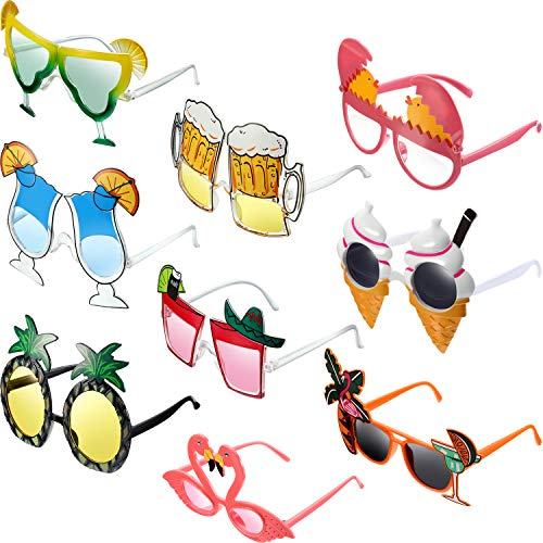 9 Pairs Funny Sunglasses Set Luau Party Sunglasses Costume Sunglasses Summer Party Photo Booth Props ()
