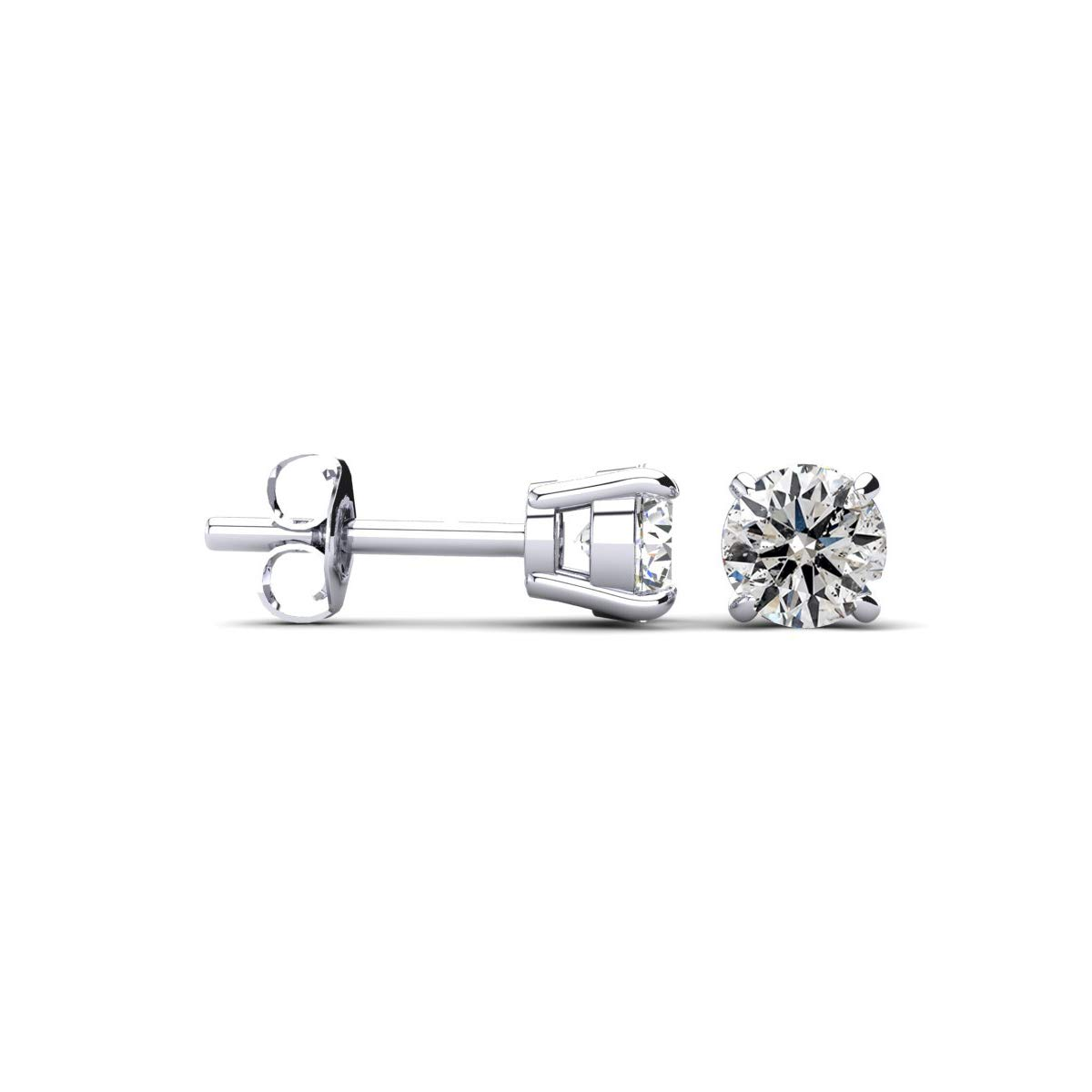 1 1/2 Cttw 14k White Gold Round Diamond Stud Earrings (AGS Certified H-I, I1-I2)