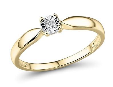 0d3765cef182f Amazon.com: Diamond Ring in 10k Yellow Gold 1/10 Carat-Size 8: Jewelry