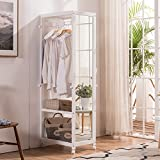 Free Standing Armoire Wardrobe Closet Full Length Mirror, 67 Tall Wooden Closet Storage Wardrobe Brake Wheels,Hanger Rod,Coat Hooks,Entryway Storage Shelves Organizer-Ivory White