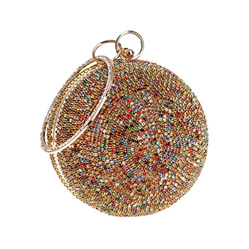 ℱLOVESOOℱ Mini Size Women's Evening Clutch Bag Round Full Rhinestones Party Prom Wedding Purse Cross Bag with Chain