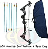 ASD Black Monster Compound Archery Bow 30-55Lbs 19-29' PACKAGE 1 W/ Free Bow Bag