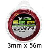 SPARES2GO Round 3mm Diameter 56m Strimmer Trimmer Brush Cutter Line