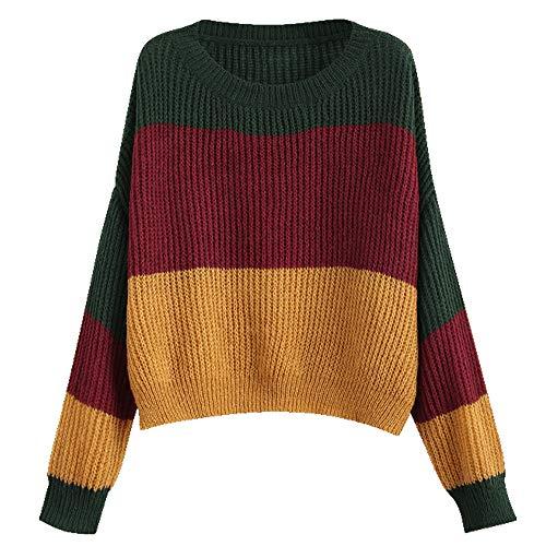 ZAFUL Women Pullover Sweater Drop Shoulder Color Block Knit Top ()