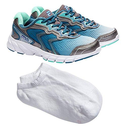 Fila Women's Lightweight Sport Mesh Athletic Running Shoe, 7.5, Mint/Charcoal