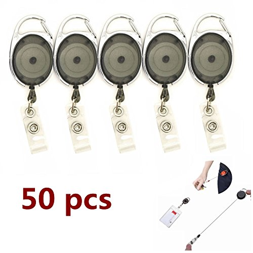 - Dealzip Inc® Black Translucent Retractable Reels for ID Badge Holders, Key Cards and ID Cards,Carabiner Style-50pcs
