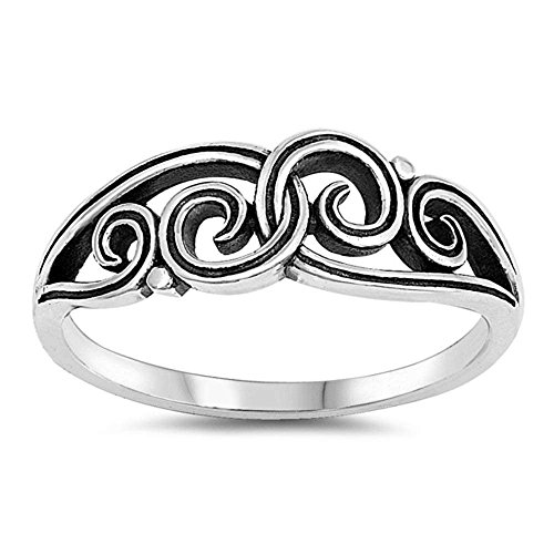 Sterling Silver Intertwined Filigree Design Ring Sizes (Filigree Design Ring Ring)