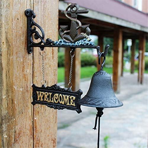 アイアンドアベル 鋳鉄吊りドアベル装飾と壁掛け金具伝統的なスタイル素朴なドアベルディナーベル風チャイムぶら下げフィット外バーコーヒーショップ 庭の家の壁の芸術の装飾 (色 : C1, Size : As shown)