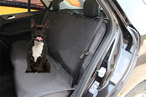 Homeyone Anti-Slip Waterproof Dog Pet Travel Bench Back Seat Cover Protector for Leather seats Washable (Black)