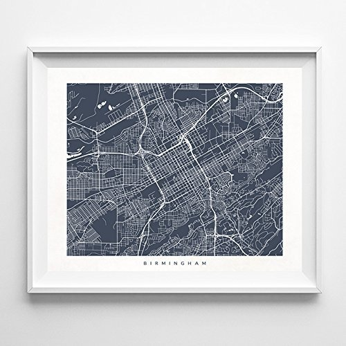 Birmingham Alabama Street Road Map Poster Wall Art Print  Mo