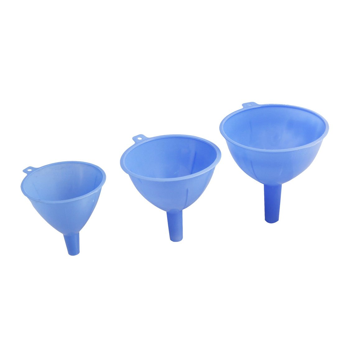 sourcingmap® Blue Plastic 3 Sizes 123mm 113mm 93mm Dia Filter Funnels a12032600ux0753