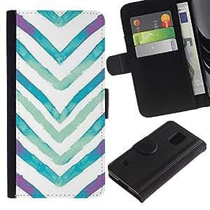 KingStore / Leather Etui en cuir / Samsung Galaxy S5 V SM-G900 / Acuarela Blanco Azul V