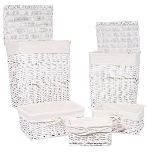 BirdRock Home Woven Willow Baskets with Liner | Set of 5 | Rectangular Hampers and Storage Bins with Lids | Decorative Wooden Wicker Baskets | Organizer | White (White Wicker Storage Baskets With Lids)