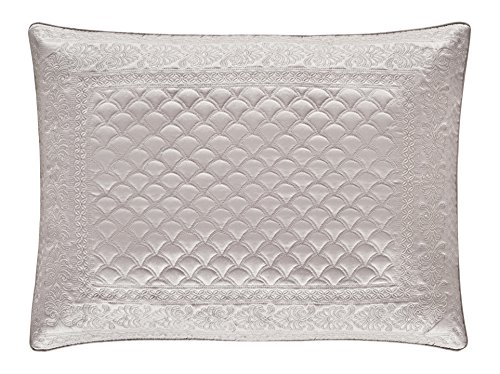 Five Queens Court Zarah Satin Damask Embroidered Pillow Sham King, Pearl ()