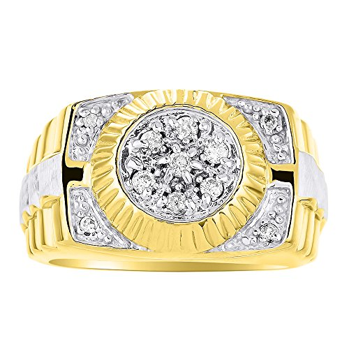 Mens Diamond Ring 14K Yellow or White Gold Ring Band Rolex Style