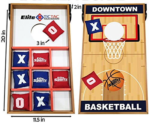 Elite Sportz Junior Bean Bag Toss Game - 2 Games On 1 Board, You Can Play Kids Cornhole Toss or Just Flip-It Over and Play Tic Tac Toe. 2 Active Indoor - Outdoor Games to Keep Kids Busy for Hours - College Basketball Board Game