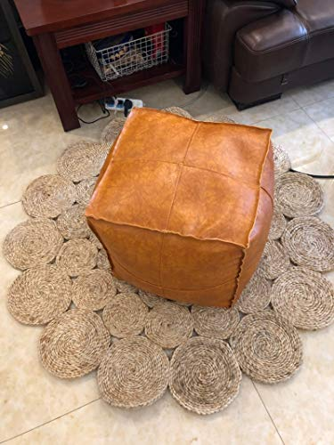 (RISEON Boho Handmade Faux Leather Moroccan Pouf Footstool Ottoman Leather Poufs Unstuffed 17.7