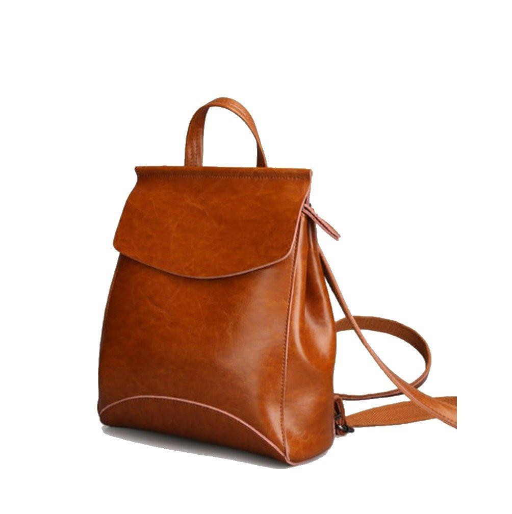 JeHouze Fashion Women Anti-Theft Shoulder Handbag Genuine Leather Backpack Casual Bag(Brown)