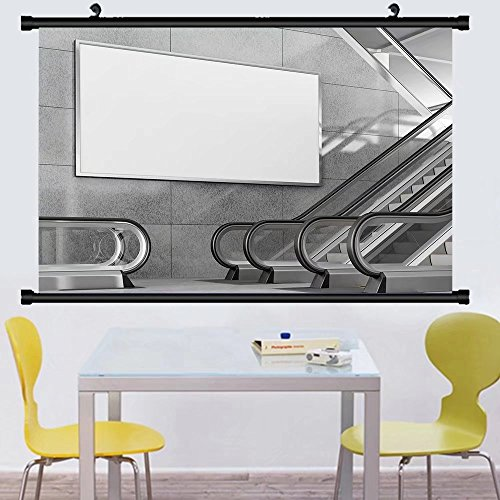 Gzhihine Wall Scroll Posterblank horizontal big poster in public place billboard mockup near to escalator in an mall ,Wall Art Paiting on Canvas 24
