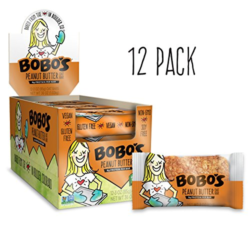 Bobo's Oat Bars (Peanut Butter, 12 Pack of 3 oz Bars) Gluten Free Whole Grain Rolled Oat Bars - Great Tasting Vegan On-The-Go Snack, Made in the USA