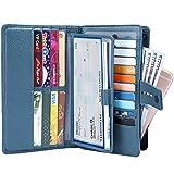 ITSLIFE Women's Big Fat RFID Blocking Leather Wallet Clutch Organizer with Checkbook Holder(Blue)
