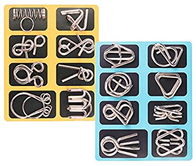 Metal Wire Puzzle, 16 Pack Brain Teaser Toys IQ Test Disentanglement Iron Link Unlock Interlock Puzzles Game Chinese Challenge Ring Puzzle Magic Trick