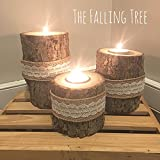 Tiered Real Log Wood Tea Light Candle Holders With Burlap and Lace Band Set of 3