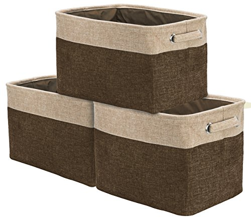 Sorbus Storage Large Basket Set [3-Pack] - 15 L x 10 W x 9 H - Big Rectangular Fabric Collapsible Organizer Bin with Carry Handles for Linens, Towels, Toys, Clothes, Kids Room, Nursery (Brown/Tan) Storage Baskets For Shelves