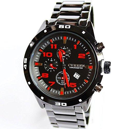 2015 reloj de marca para hombre Casual encanto Acero Elegante Relojes impermeables (rojo)