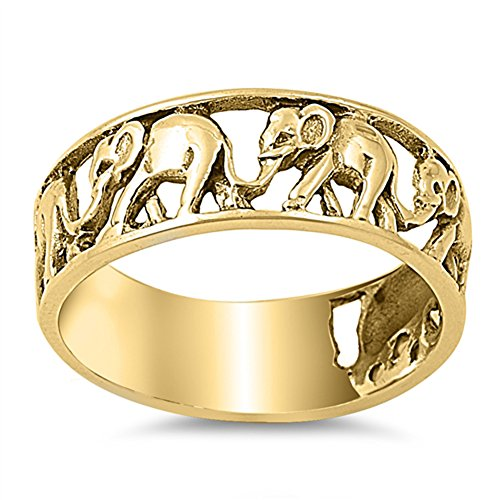 Gold-Tone Elephant Circus Statement Ring .925 Sterling Silver Band Size 8