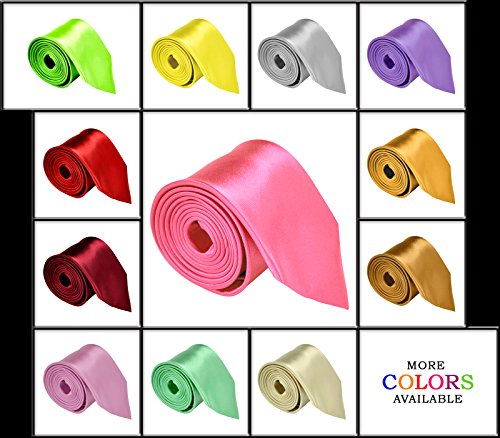 "Moda Di Raza - Mens Necktie 3.5"" Tie Satin Finish Polyester Ties Solid Colors"