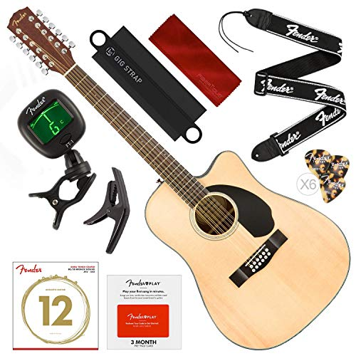 - Fender CD-60SCE-12 Right Handed 12-String Dreadnought Acoustic-Electric Guitar, Natural with Fender Play Pre-Paid Card, Tuner, Capo, Strings, Picks, Strap & Deluxe Bundle