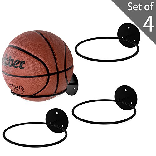 MyGift Set of 4 Black Metal Wall-Mounted Sports Ball Holder Display Rack ()