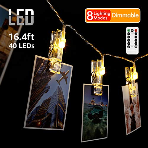 EOCWHO Dimmable Photo Clips String Lights Holder, 40 LEDs 8 Modes Indoor Fairy Photo String Lights with Clips Decorative hanging Lights for Christmas Bedroom Wall Wedding Teen Room Decor (Remote contr