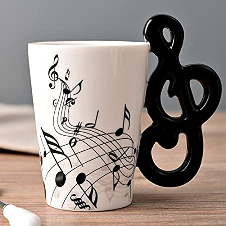 Music Mug With Note Shaped Unique Handle Fashion Art Musical Instrument Notes Tea Coffee Milk Ceramic Porcelain Mug Cup 300ml Kitchen Dining