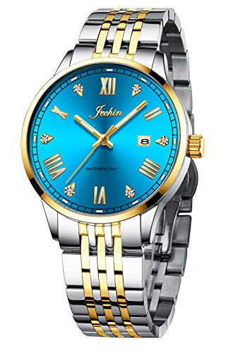 Jechin Men's Stainless Steel Wristwatch Waterproof Date Quartz Analog Watch