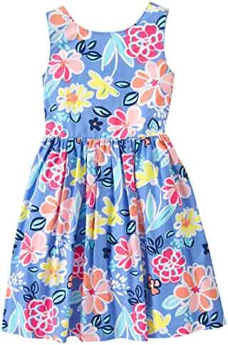 Gymboree Big Girls' Short Sleeve Blue Floral Tie Tank Dress