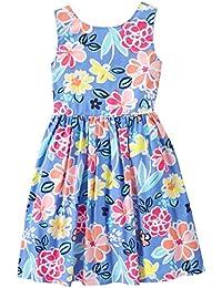 Gymboree Big Girls' Short Sleeve Blue Floral Tie Tank Dress