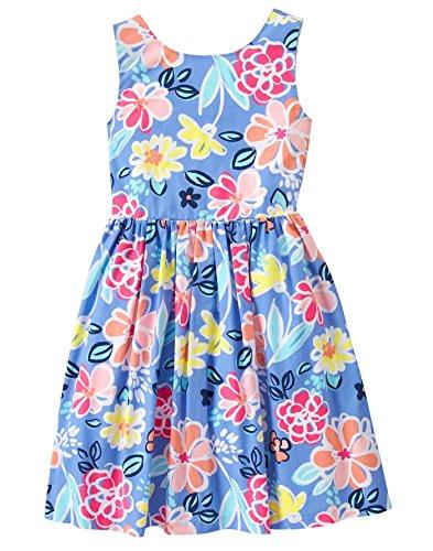 Gymboree Big Girls' Short Sleeve Floral Tie Tank Dress, Faberge Blue, 6