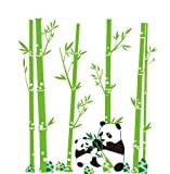 "35""x31"" Pandas eat bamboo & playing Wall Stickers Vinyl Wall Decals Removable Mural"