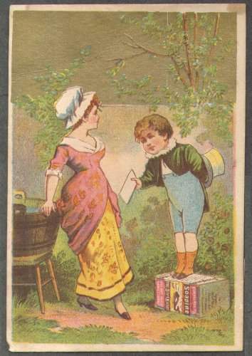 Kendall Soapine trade card Providence RI boy on box hands letter to girl 1880s ()
